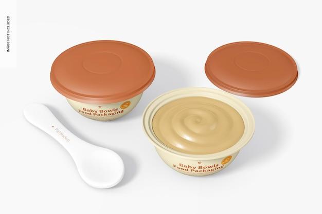 Baby bowls food packaging set mockup