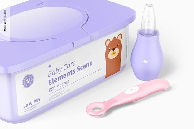 Mockup di scena di elementi per la cura del bambino, primo piano