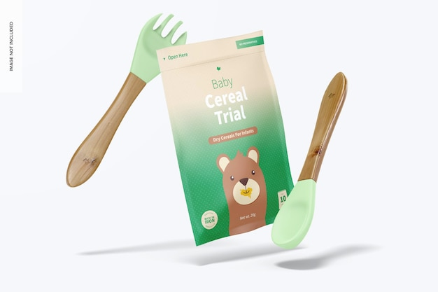Baby cereal trial pack mockup, falling