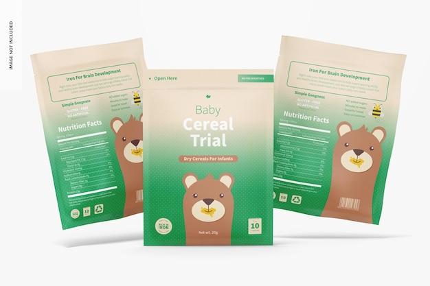 Baby cereal trial pack mockup, 전면보기