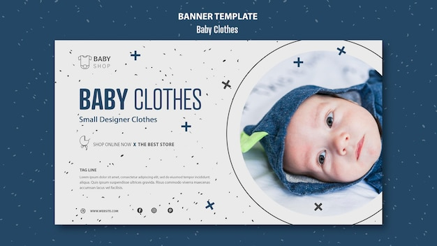 Baby clothes banner template