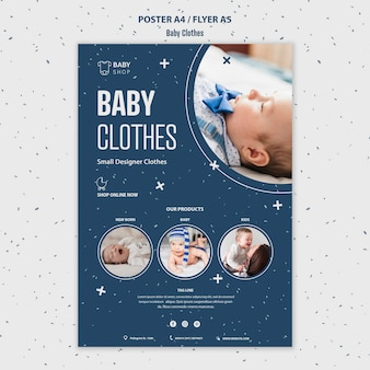 Baby clothes flyer template
