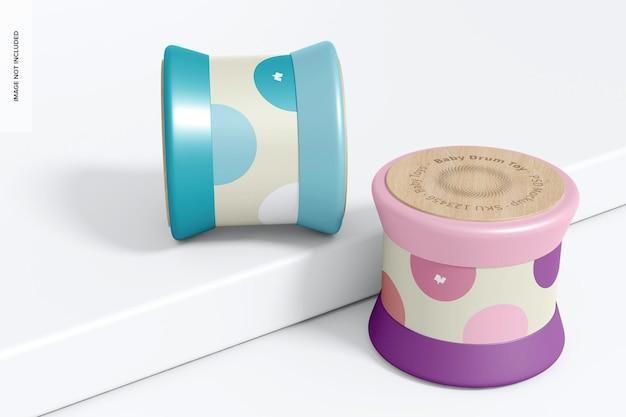 Mockup giocattolo tamburo per bambini, prospettiva