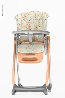 Mockup di sedia per l'alimentazione del bambino, vista frontale