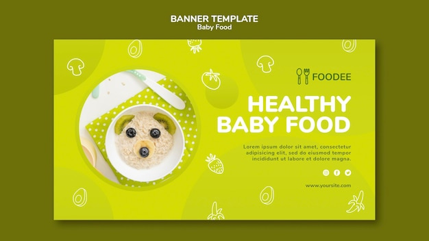 Baby food banner template design