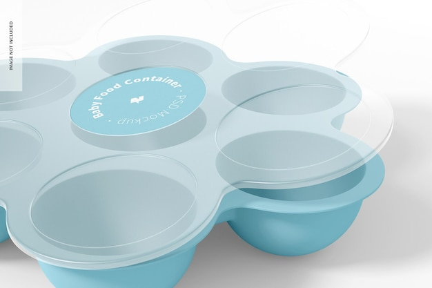 Baby food container mockup, close up