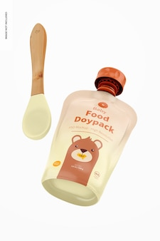 Doypack e cucchiaio mockup per pappe