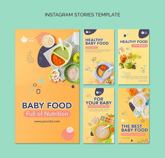 Baby food instagram stories pack