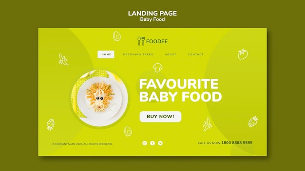 Baby food landing page design