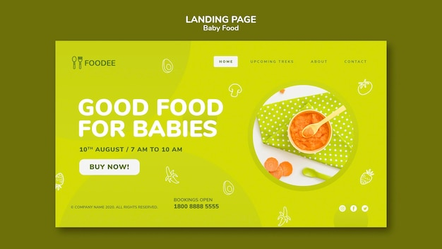 Baby food landing page style