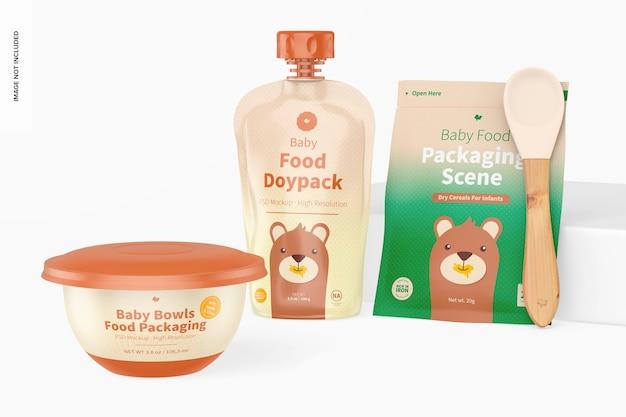 Mockup di scena di imballaggio per alimenti per bambini, vista frontale