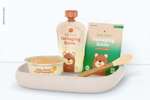 Mockup di scena di imballaggio per alimenti per bambini, vista a sinistra