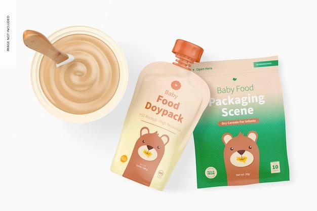 Mockup di scena di imballaggio per alimenti per bambini, vista dall'alto