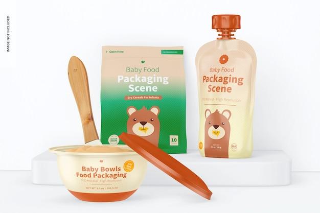Mockup di scena di imballaggio per alimenti per bambini