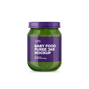 Baby food puree jar mockup