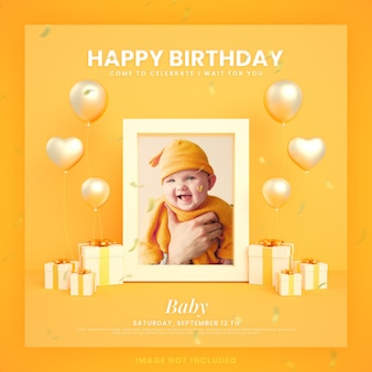 Baby happy birthday invitation card for instagram social media post template with mockup