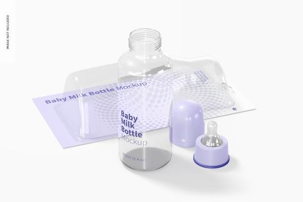 水ぶくれが付いている赤ん坊の牛乳瓶のモックアップ Premium Psd