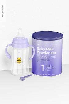 乳児用牛乳瓶と粉ミルクのシーンのモックアップ