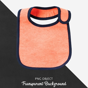Baby orange bib on transparent background