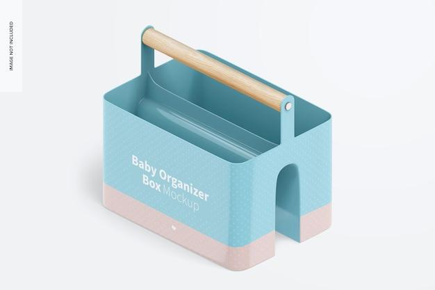 Baby organizer box mockup, isometric left view