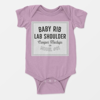 Baby rib lap shoulder creeper mockup