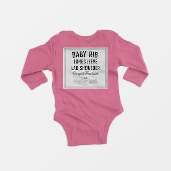 Baby rib longsleeve lap shoulder creeper mockup