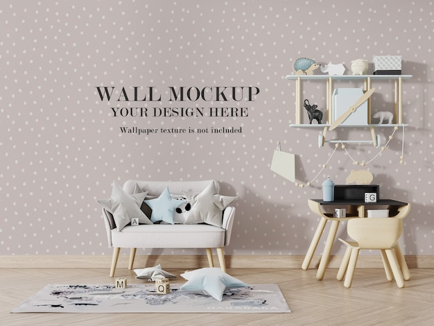 Baby room wall mockup with accessories