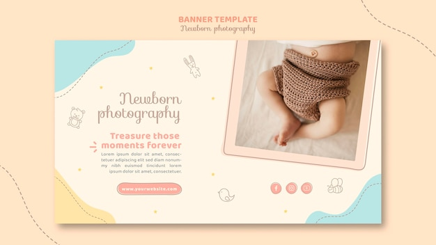 Baby's feet top view banner template