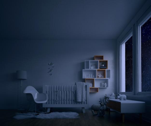밤에 하얀 침대와 아기의 방