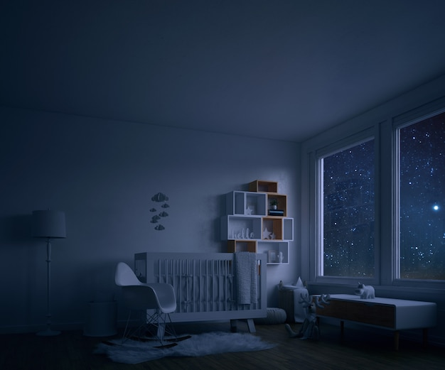 Baby's room with white crib at night