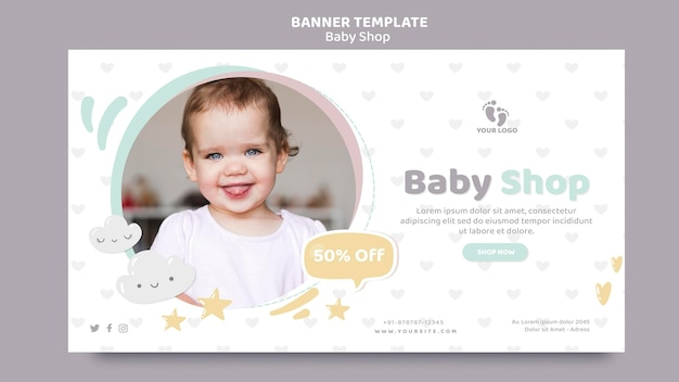 Baby shop banner template