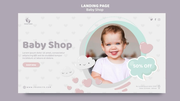 Baby shop landing page template