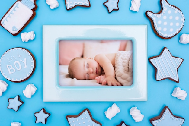 Baby shower decorations with frame