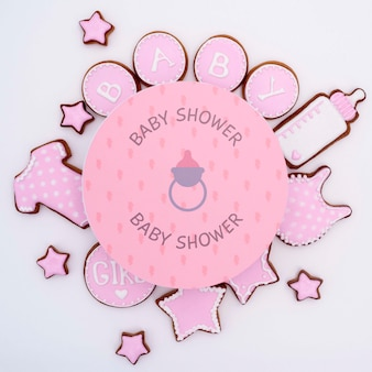 Baby shower decorations with pink stars