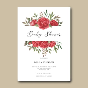 Baby shower invitation template with watercolor roses decoration
