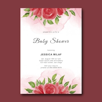 Baby shower template with watercolor flowers