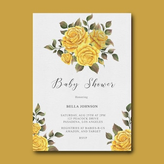 Baby shower template with watercolor yellow rose flower frame