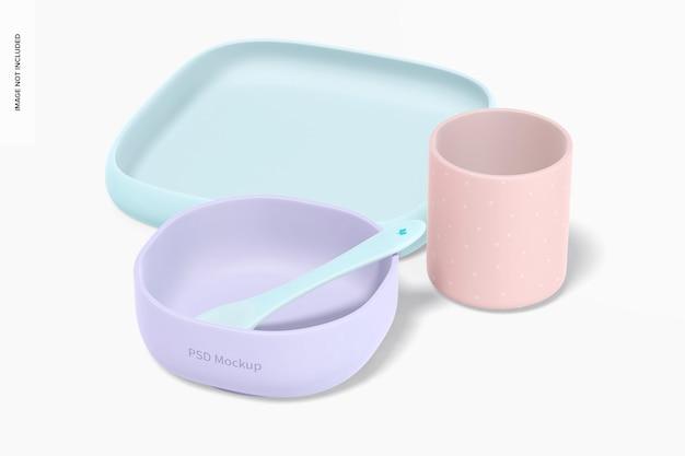 Mockup di kit di stoviglie in silicone per bambini, vista a destra Psd Gratuite