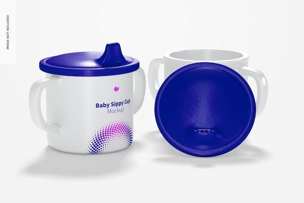 Мокап baby sippy cup, открытые и закрытые