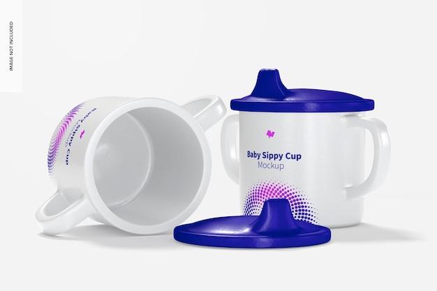 Мокап набора чашек baby sippy
