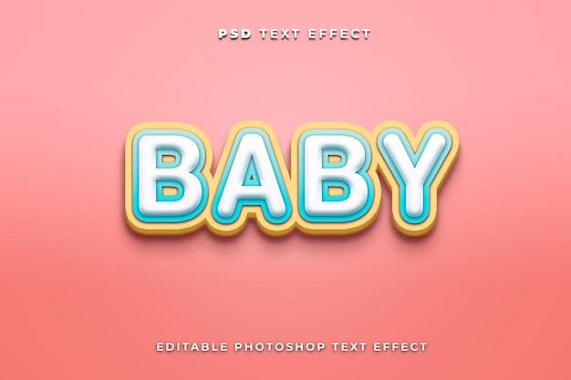 Baby text effect template with pink background