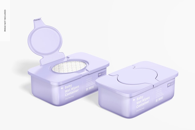 Baby wet wipes containers mockup