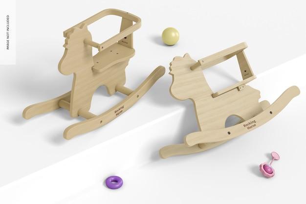 Мокап детской деревянной лошадки-качалки