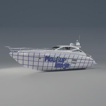 海のボートのモックアップの背面半分の側面図