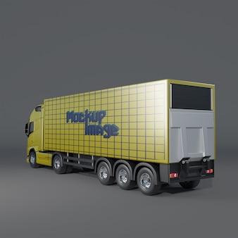 트레일러 트럭 모형의 뒷면 절반 측면보기