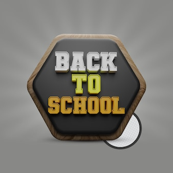 Back to school 3d text with blackboard polygon shape