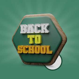 Back to school 3d text
