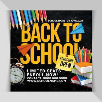 Back to school admission banner template