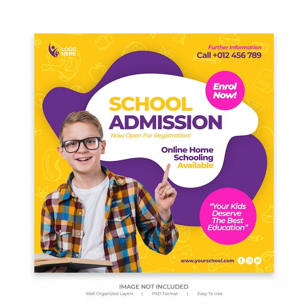 Back to school admission marketing social media post or banner template
