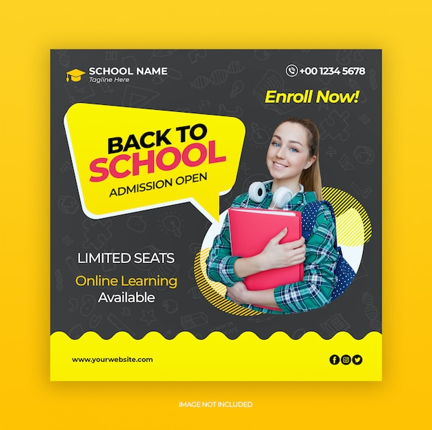 Back to school admission marketing template for social media post